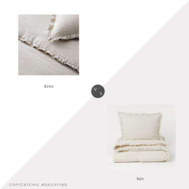 Daily Find: West Elm European Flax Linen Ruffle Duvet Cover vs. H&M Home Flounced Duvet Cover Set, ruffled linen duvet look for less, copycatchic luxe living for less, budget home decor and design, daily finds, home trends, sales, budget travel and room redos