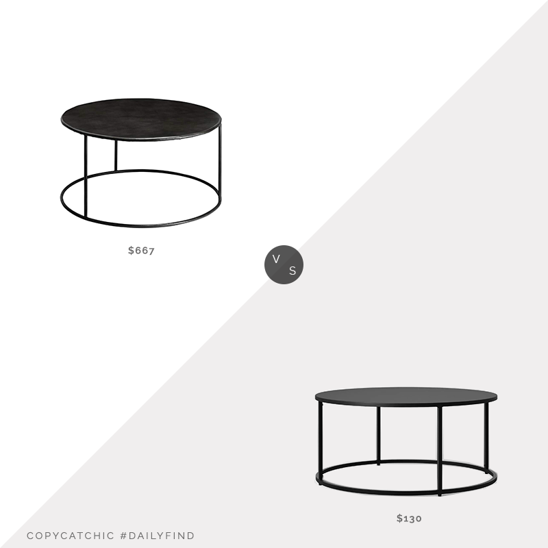 Daily Find: Lamps Plus Americana Iron Coffee Table by Jamie Young vs. Target Project 62 Glasgow Round Metal Coffee Table, round metal coffee table look for less, copycatchic luxe living for less, budget home decor and design, daily finds, home trends, sales, budget travel and room redos