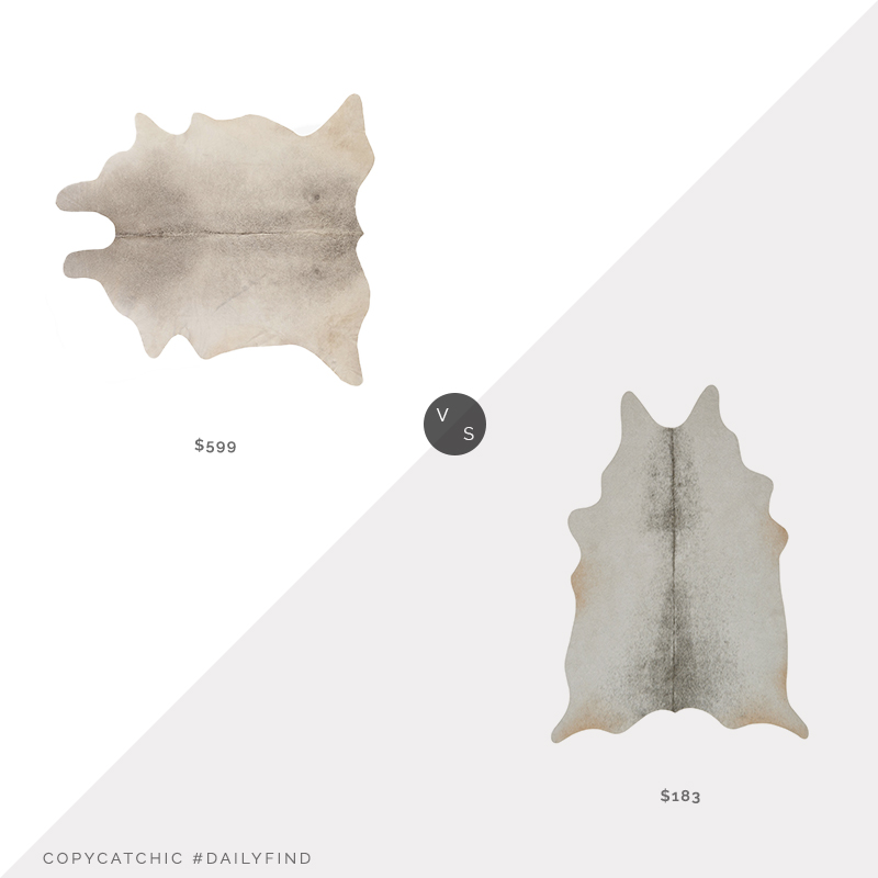 Daily Find: CB2 Grey Cowhide Area Rug vs. Wayfair Williston Forge Kaci Silver/Grey Area Rug, gray cowhide rug look for less, copycatchic luxe living for less, budget home decor and design, daily finds, home trends, sales, budget travel and room redos