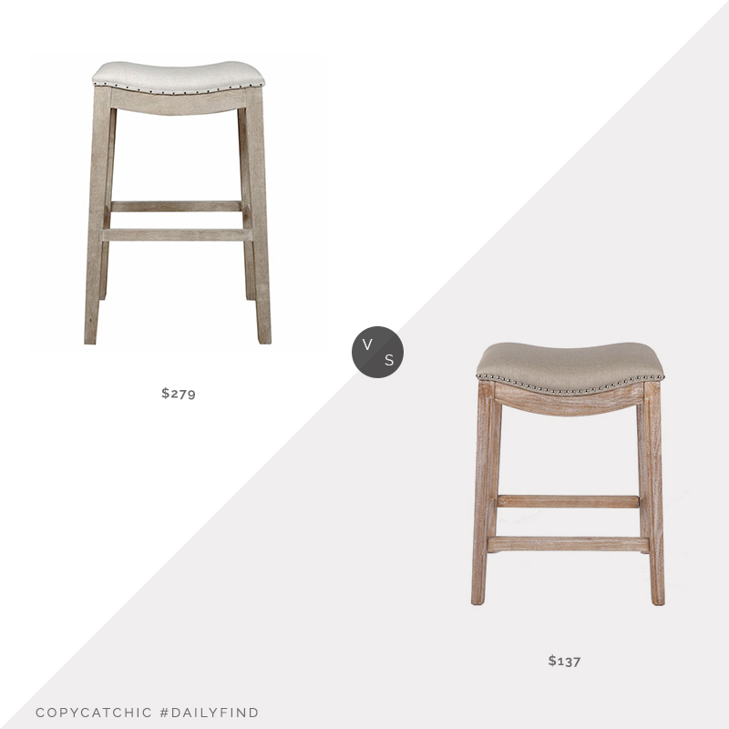 Daily Find: Hayneedle Harper Bar Stool vs. Wayfair Wald Counter Stool, leather counter stool look for less, copycatchic luxe living for less, budget home decor and design, daily finds, home trends, sales, budget travel and room redos