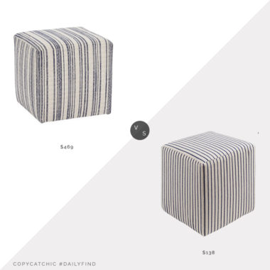 Daily Find: One Kings Lane Kim Salmela Quinn Cube Ottoman vs. Overstock Altavas Transitional Stripe Cream Pouf, striped ottoman look for less, copycatchic luxe living for less, budget home decor and design, daily finds, home trends, sales, budget travel and room redos