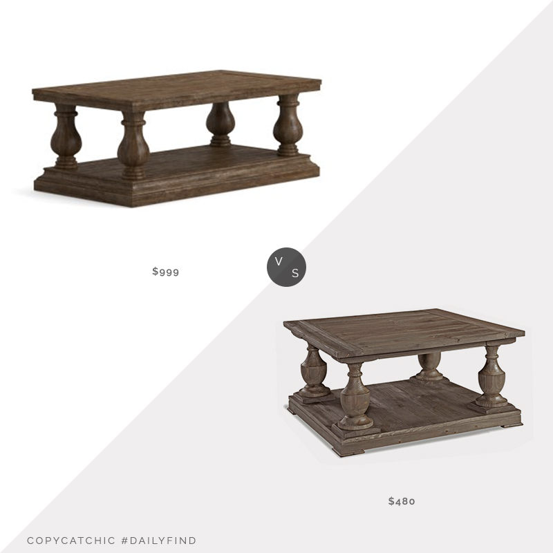 Daily Find: Pottery Barn Lorraine Coffee Table vs. Wayfair Hadlee Coffee Table with Storage, traditional wood coffee table look for less, copycatchic luxe living for less, budget home decor and design, daily finds, home trends, sales, budget travel and room redos