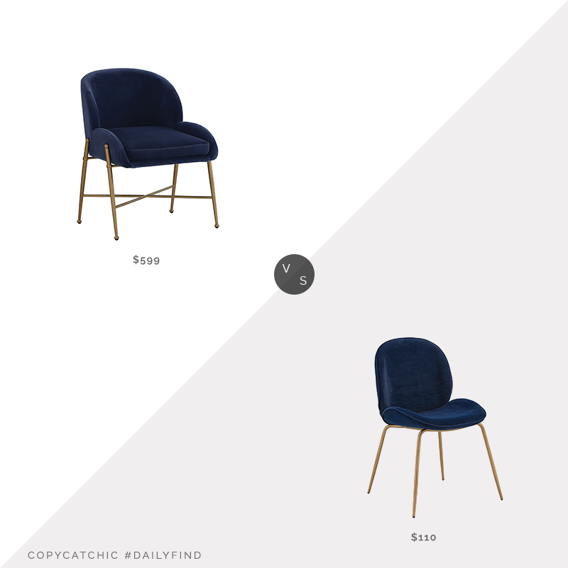 Daily Find: Ballard Designs Hazel Dining Chair vs. Wayfair Guillemette Velvet Upholstered Side Chair (Set of 2), navy velvet dining chair look for less, copycatchic luxe living for less, budget home decor and design, daily finds, home trends, sales, budget travel and room redos