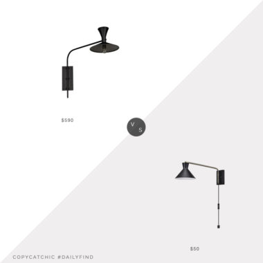 Daily Find: MegMade Enzo Modern Metal Sconce vs. Build.com Globe Electric Waldwick Sconce, black sconce look for less, copycatchic luxe living for less, budget home decor and design, daily finds, home trends, sales, budget travel and room redos
