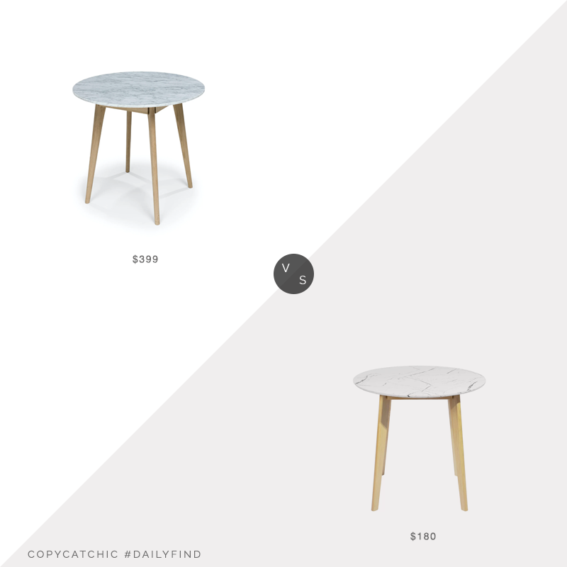 Daily Find: Article Mara Oak Cafe Tablevs. Wayfair Hashtag Home Fairview Dining Table, marble dining table look for less, copycatchic luxe living for less, budget home decor and design, daily finds, home trends, sales, budget travel and room redos