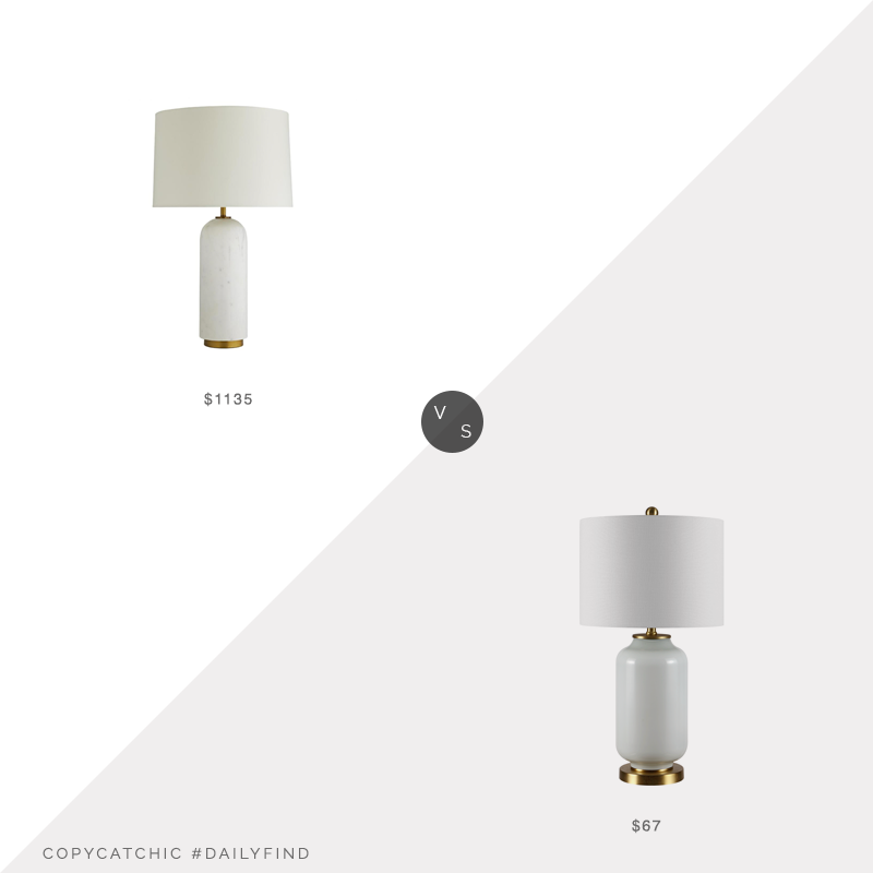 Daily Find: Arteriors Waterson Modern Classic White Marble Table Lamp vs. Walmart Safavieh Amia Mid Century Glass Table Lamp, white table lamp look for less, copycatchic luxe living for less, budget home decor and design, daily finds, home trends, sales, budget travel and room redos