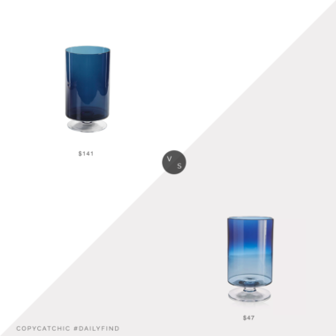 Daily Find: Kathy Kuo Home Farrah Blue Glass Footed Hurricane vs. Crate and Barrel London Large Blue Hurricane, blue hurricane look or less, copycatchic luxe living for less, budget home decor and design, daily finds, home trends, sales, budget travel and room redos