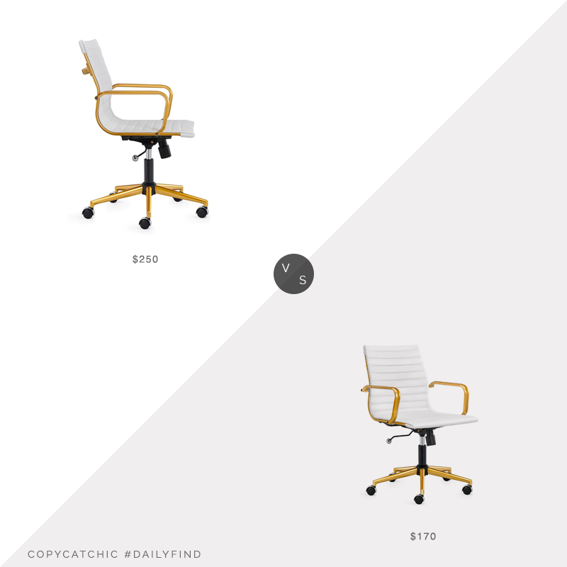 Daily Find: Overstock LUXMOD Gold Office Chair vs. Amazon LUXMOD Gold Office Chair, white gold office chair look for less, copycatchic luxe living for less, budget home decor and design, daily finds, home trends, sales, budget travel and room redos
