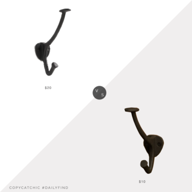 Daily Find: Schoolhouse Charter Cast Iron Hook vs. Build Signature Hardware Southwell Cast Iron Coat Hook, iron wall hook look for less, copycatchic luxe living for less, budget home decor and design, daily finds, home trends, sales, budget travel and room redos