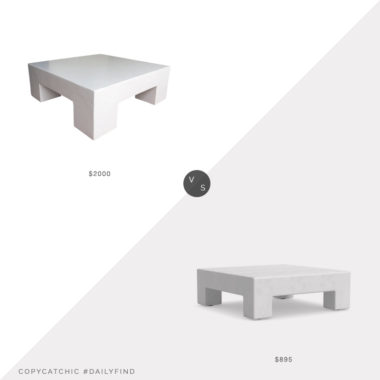 Daily Find: Oken House Mid Century Modern Plaster Coffee Table vs. Williams Sonoma Home Matte White Square Table, plaster coffee table look for less, copycatchic luxe living for less, budget home decor and design, daily finds, home trends, sales, budget travel and room redos
