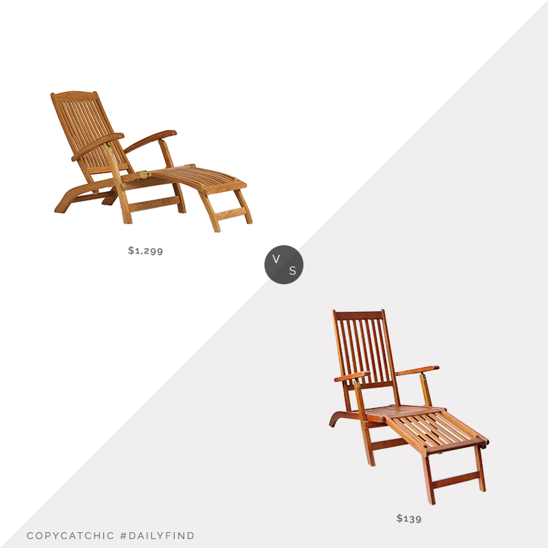 Daily Find: Rejuvenation Teak & Brass Folding Lounge Chair vs. Overstock vidaXL Outdoor Acacia Wood Deck Chair with Footrest, steamer chair look for less, copycatchic luxe living for less, budget home decor and design, daily finds, home trends, sales, budget travel and room redos
