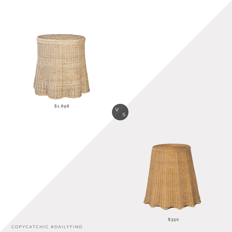 Daily Find: The Tot Round Scallop Skirted Side Table vs. Living Spaces Natural Woven Accent Table By Nate Berkus & Jeremiah Brent, skirted wicker table look for less, copycatchic luxe living for less, budget home decor and design, daily finds, home trends, sales, budget travel and room redos