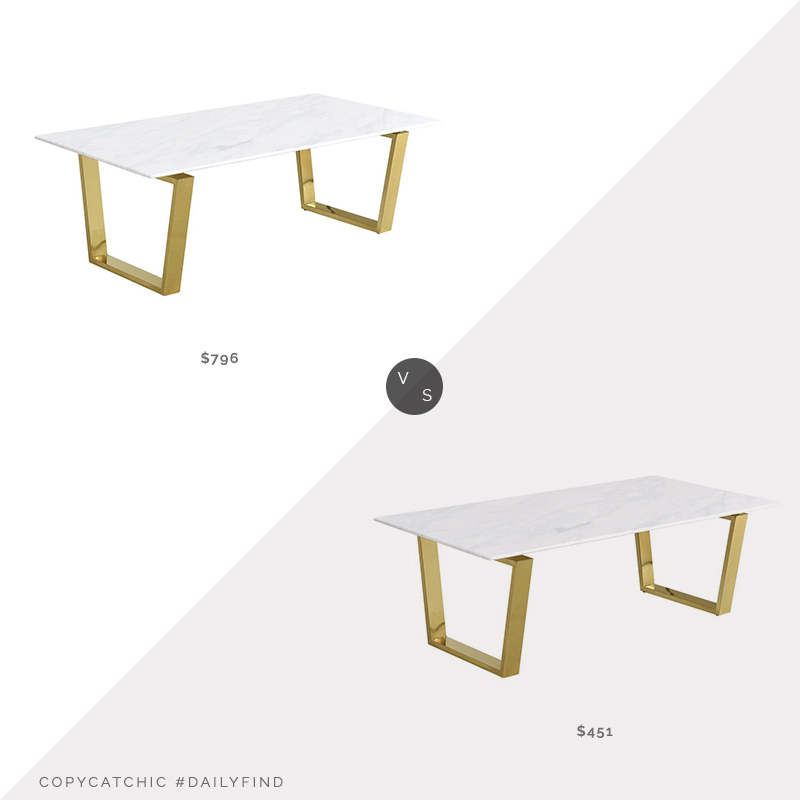 Daily Find: Meridian Furniture Cameron Gold Coffee Table vs. Houzz Cameron Gold Coffee Table, gold marble coffee table look for less, copycatchic luxe living for less, budget home decor and design, daily finds, home trends, sales, budget travel and room redos