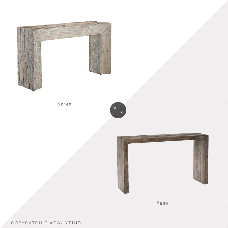 Daily Find: Stephanie Cohen Currey and Company Kanor Console Table vs. West Elm Emmerson Reclaimed Wood Console Table, reclaimed wood console table look for less, copycatchic luxe living for less, budget home decor and design, daily finds, home trends, sales, budget travel and room redos