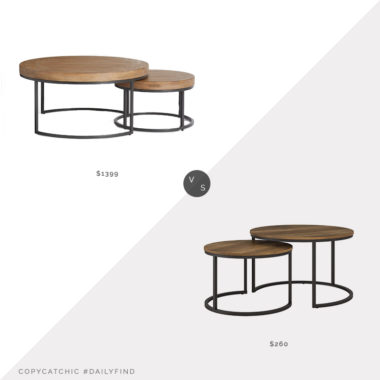 Daily Find: Pottery Barn Malcolm Round Nesting Coffee Tables vs. Overstock CorLiving Fort Worth Wood Grain Nesting Coffee Tables, nesting coffee tables look for less, copycatchic luxe living for less, budget home decor and design, daily finds, home trends, sales, budget travel and room redos