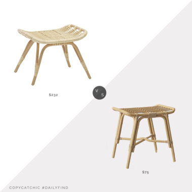 Daily Find: Pottery Barn Monet Rattan Ottoman vs. Target Mojave Rattan Ottoman, rattan ottoman look for less, copycatchic luxe living for less, budget home decor and design, daily finds, home trends, sales, budget travel and room redos