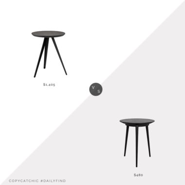 Daily Find: Artemest Aky Contract Black Tripod Side Tablevs. Burke Decor Tripod Side Table in Charcoal Black, black tripod side table look for less, copycatchic luxe living for less, budget home decor and design, daily finds, home trends, sales, budget travel and room redos