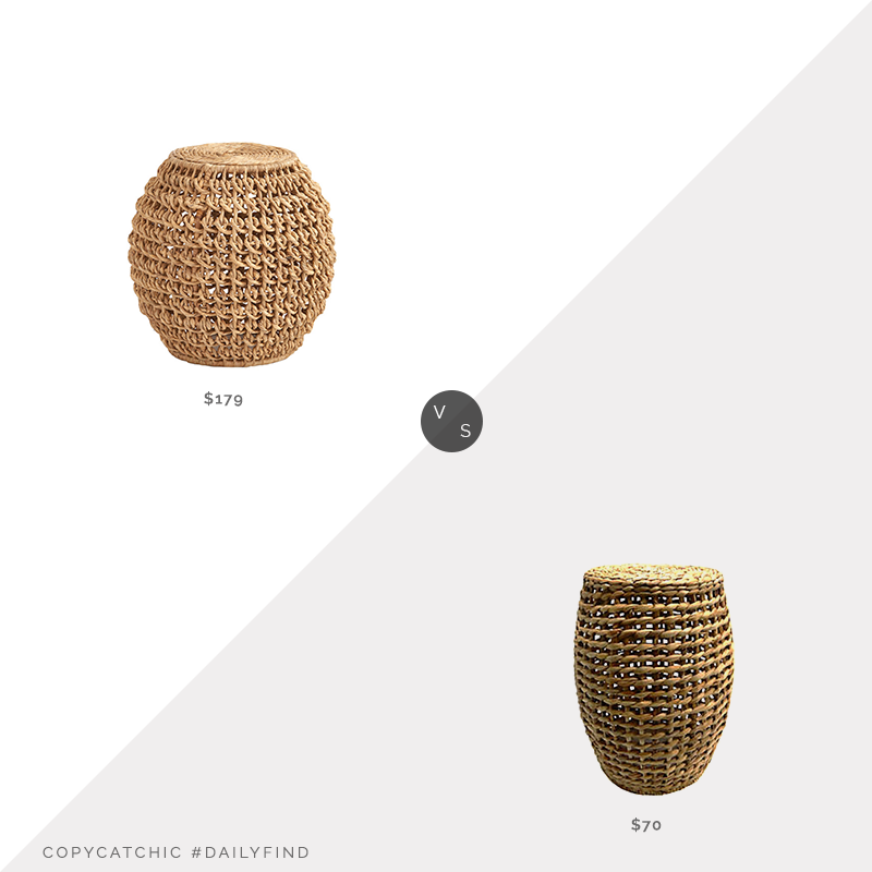 Daily Find: Ballard Designs Tulum Woven Garden Stool vs. Bed, Bath & Beyond Bee & Willow™ Wicker Side Table, woven side table look for less, copycatchic luxe living for less, budget home decor and design, daily finds, home trends, sales, budget travel and room redos