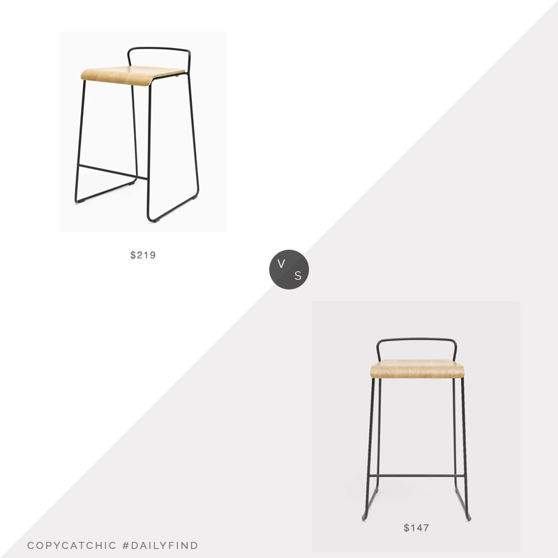 Daily Find: France and Son Transit Counter Stool vs. Wayfair M.A.D. Transit Counter Stool, wood metal counter stool look for less, copycatchic luxe living for less, budget home decor and design, daily finds, home trends, sales, budget travel and room redos