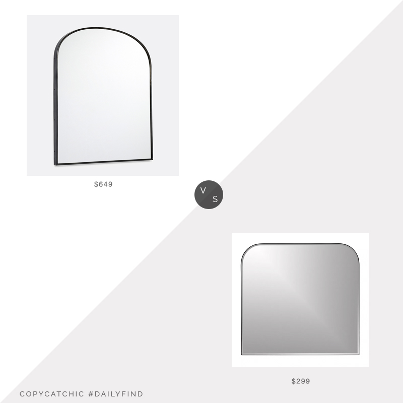 Daily Find: Rejuvenation Arched Mantel Metal Framed Mirror vs. Crate & Barrel Edge Black Arch Wall Mirror, black arched mirror look for less, copycatchic luxe living for less, budget home decor and design, daily finds, home trends, sales, budget travel and room redos