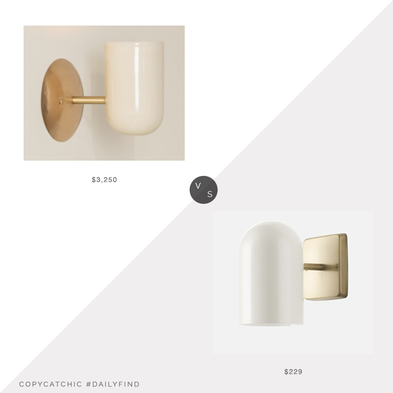 Daily Find: The Future Perfect Miami Cup Sconce vs. Schoolhouse Allegheny Sconce, white and brass sconce look for less, copycatchic luxe living for less, budget home decor and design, daily finds, home trends, sales, budget travel and room redos