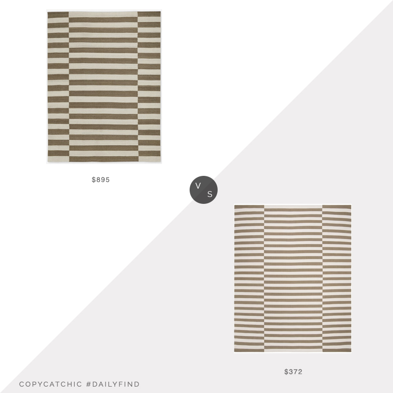 Daily Find: Jenni Kayne Striped Bungalow Rug vs. Wayfair Ralph Lauren Ludlow Stripe Rug, beige offset stripe rug look for less, copycatchic luxe living for less, budget home decor and design, daily finds, home trends, sales, budget travel and room redos