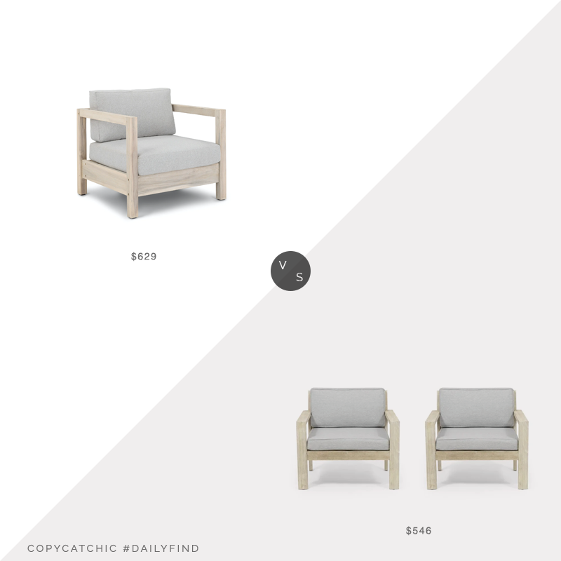 Daily Find: Article Arca Driftwood Gray Lounge Chairvs. Overstock Santa Ana Outdoor Acacia Wood Club Chairs Set of 2 by Christopher Knight Home, gray outdoor chairs look for less, copycatchic luxe living for less, budget home decor and design, daily finds, home trends, sales, budget travel and room redos
