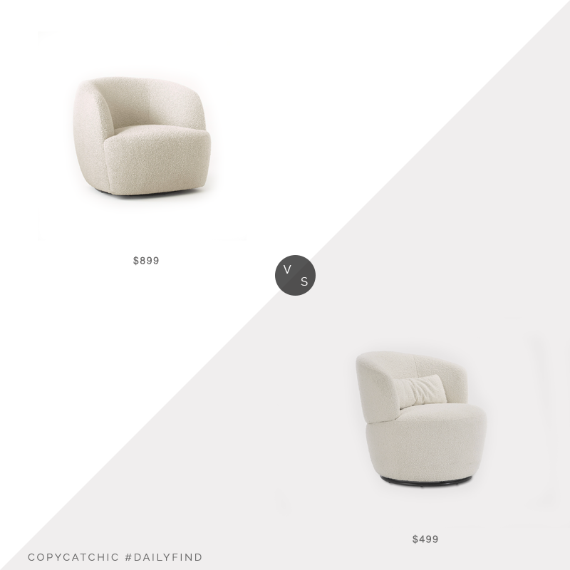 Daily Find: CB2 Gwyneth Ivory Boucle Chair vs. Castlery Amber Swivel Chair, Snow Boucle, boucle chair look for less, copycatchic luxe living for less, budget home decor and design, daily finds, home trends, sales, budget travel and room redos