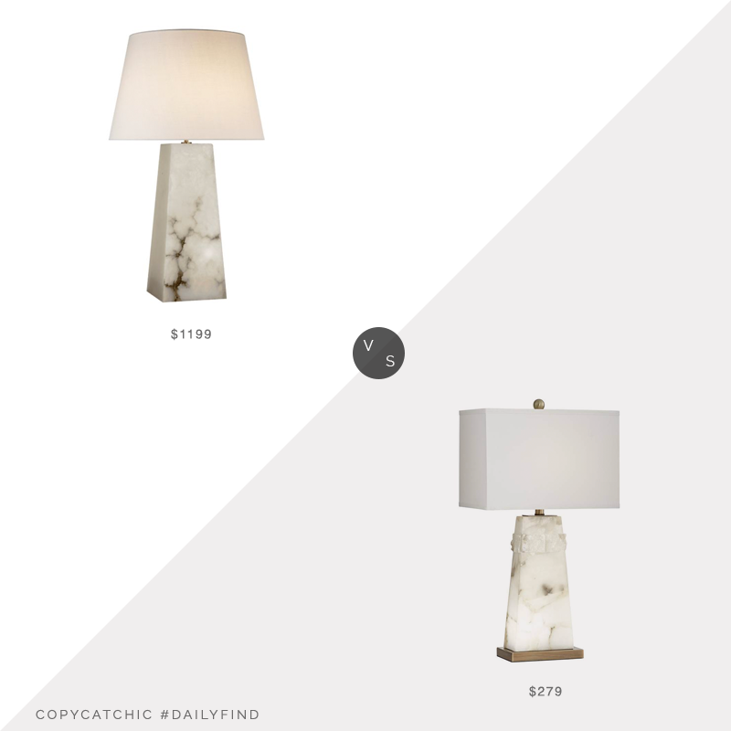 Daily Find: Circa Lighting Visual Comfort Evoke Large Table Lamp vs. Lighting Plus Beaumont White Alabaster Table Lamp with Night Light, alabaster lamp look for less, copycatchic luxe living for less, budget home decor and design, daily finds, home trends, sales, budget travel and room redos