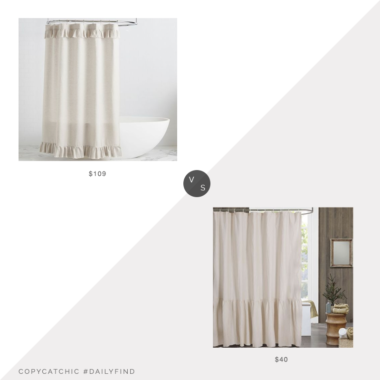 Daily Find: Pottery Barn Belgian Flax Linen Ruffle Shower Curtainvs. Bed Bath and Beyond Bee & Willow™ Home Ruffled Edge Shower Curtain, ruffled shower curtain look for less, copycatchic luxe living for less, budget home decor and design, daily finds, home trends, sales, budget travel and room redos