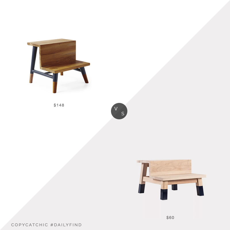 Daily Find: Serena and Lily Teak Step Stool vs. Kohls Prinz Children's Step Stool, kids step stool look for less, copycatchic luxe living for less, budget home decor and design, daily finds, home trends, sales, budget travel and room redos