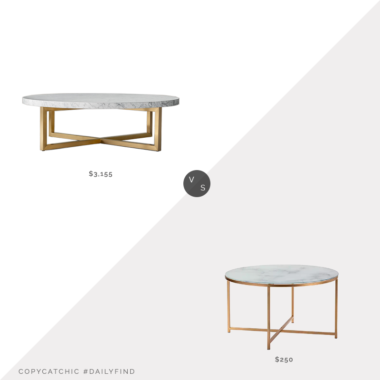 Daily Find: Restoration Hardware Torano Marble Round Coffee Table vs. Kirkland's Gold Faux Marble Round Coffee Table, marble and brass coffee table look for less, copycatchic luxe living for less, budget home decor and design, daily finds, home trends, sales, budget travel and room redos