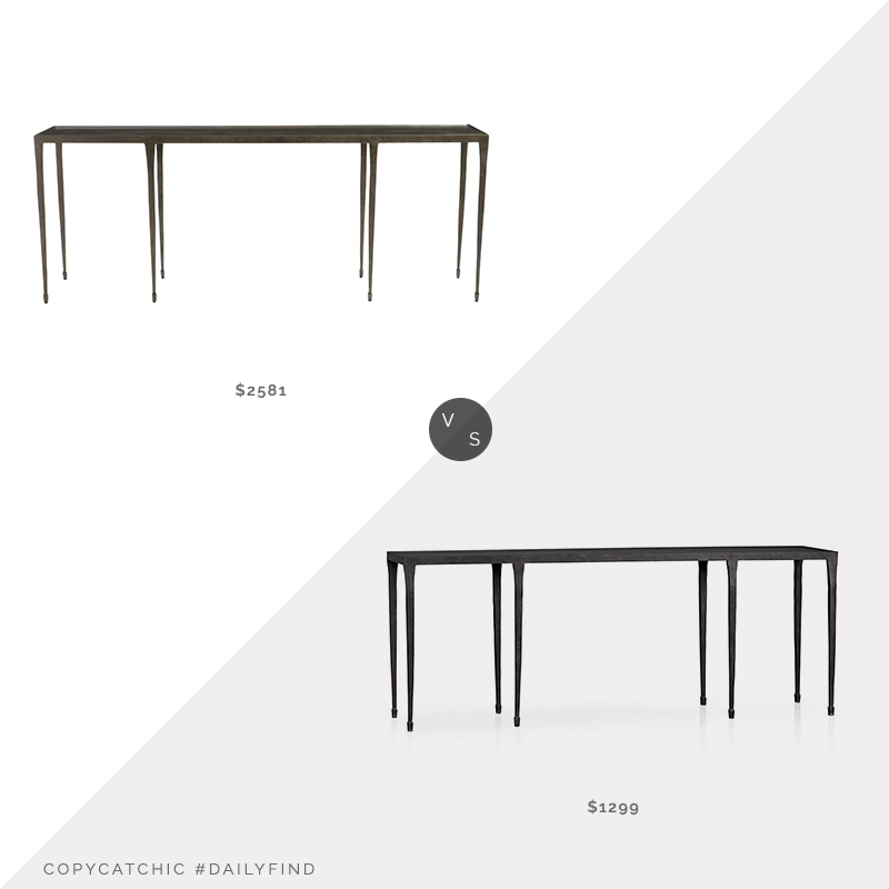 Daily Find: Kathy Kuo Wes Industrial Loft Hammered Cast Iron Console Tablevs. CB2 Silviano Long Console Table, iron console table look for less, copycatchic luxe living for less, budget home decor and design, daily finds, home trends, sales, budget travel and room redos