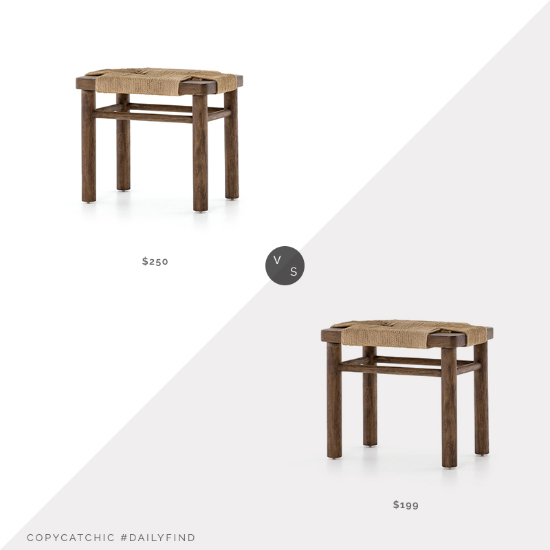 Daily Find: Burke Decor Shona Stool in Russet Mahogany vs. West Elm Mahogany Woven Rope Stool, wood and rope stool look for less, copycatchic luxe living for less, budget home decor and design, daily finds, home trends, sales, budget travel and room redos