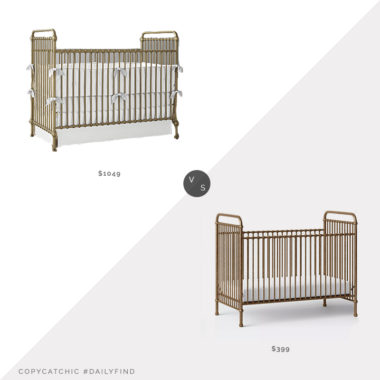 Daily Find: Restoration Baby Kennedy Iron Crib vs. Target Million Dollar Baby Classic Abigail Convertible Crib, gold crib look for less, copycatchic luxe living for less, budget home decor and design, daily finds, home trends, sales, budget travel and room redos