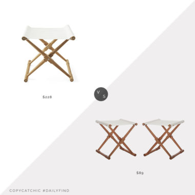 Daily Find: Serena & Lily Teak Camp Stoolvs. English Elm Breanne Stool, teak camp stool look for less, copycatchic luxe living for less, budget home decor and design, daily finds, home trends, sales, budget travel and room redos