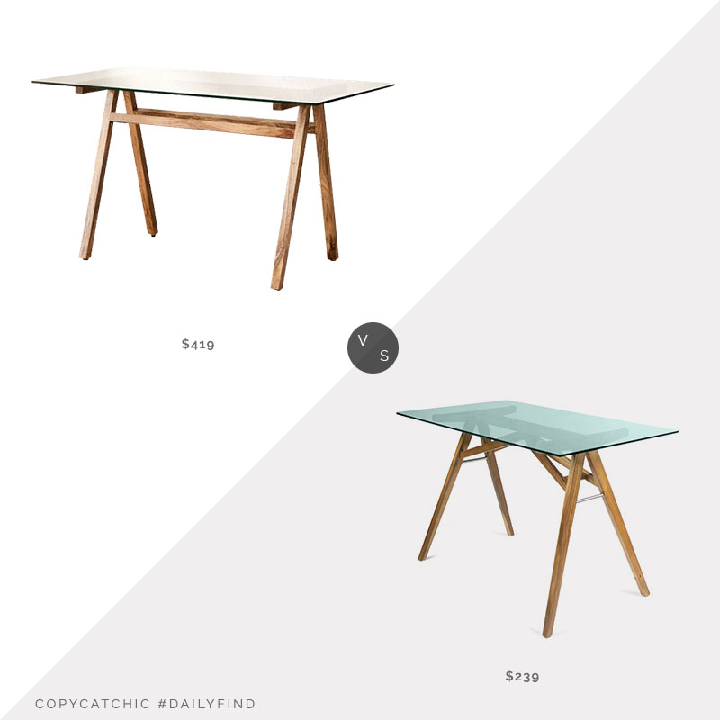 Daily Find: Urban Outfitters Ashford Desk vs. Wayfair Mercury Row Lindgren Desk, glass top desk look for less, copycatchic luxe living for less, budget home decor and design, daily finds, home trends, sales, budget travel and room redos