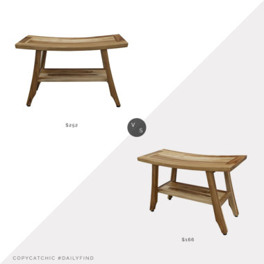 Daily Find: Wayfair Lux Comfort Teak Shower Stool vs. English Elm Compact Curvilinear Teak Shower Stool, teak shower stool look for less, copycatchic luxe living for less, budget home decor and design, daily finds, home trends, sales, budget travel and room redos