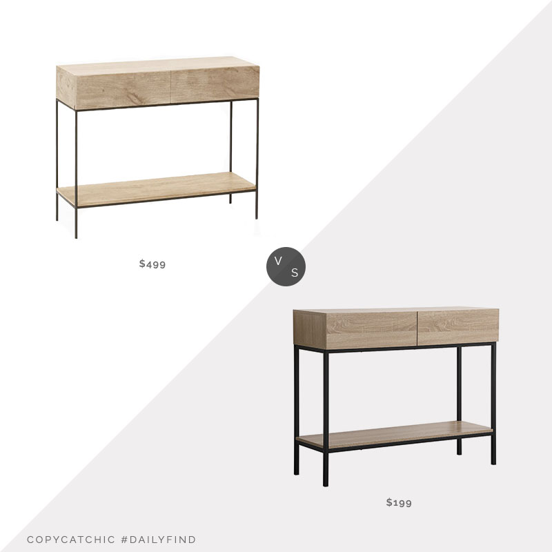 Daily Find: West Elm Industrial Storage Console vs. Wayfair Sand & Stable Noralee Console Table, wood and metal console look for less, copycatchic luxe living for less, budget home decor and design, daily finds, home trends, sales, budget travel and room redos