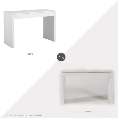 Daily Find: CB2 Runway White Lacquer Desk vs. Living Spaces Vember White Desk, white two drawer desk look for less, copycatchic luxe living for less, budget home decor and design, daily finds, home trends, sales, budget travel and room redos
