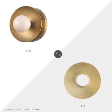 Daily Find: Build With Ferguson Hudson Valley Lighting Julien Sconce vs. Etsy Decocreation Studio Modern Sconce, round brass sconce look for less, copycatchic luxe living for less, budget home decor and design, daily finds, home trends, sales, budget travel and room redos