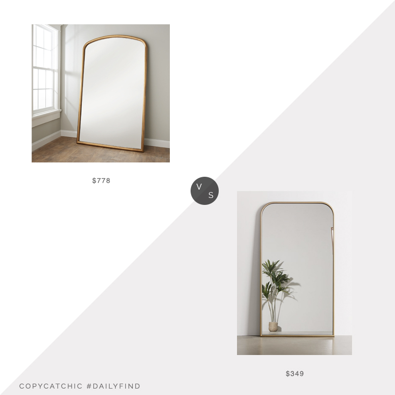 Daily Find: Shades of Light Halcyon Gild Mirror vs. Urban Outfitters Selene Floor Mirror, gold arched floor mirror look for less, copycatchic luxe living for less, budget home decor and design, daily finds, home trends, sales, budget travel and room redos