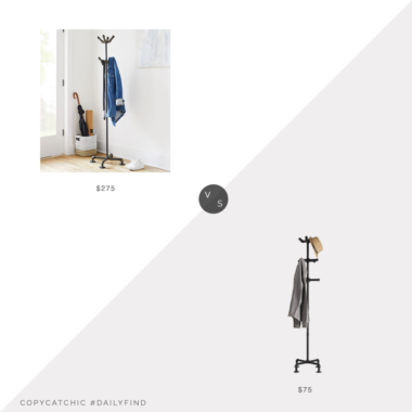 Daily Find: West Elm Monroe Trades Industrial Coat Rack vs. Amazon MyGift Industrial0Theme Black Metal Pipe Coat Stand, pipe coat rack look for less, copycatchic luxe living for less, budget home decor and design, daily finds, home trends, sales, budget travel and room redos