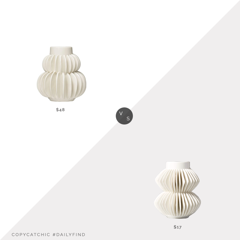 Daily Find: Ecovibe White Tiered Stoneware Vase vs. CB2 Celia White Vase, white ruffled vase look for less, copycatchic luxe living for less, budget home decor and design, daily finds, home trends, sales, budget travel and room redos