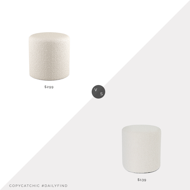 Daily Find: The Inside Drum Ottoman in Snow Bouclé vs. Article Cilo Ivory Bouclé Ottoman, boucle ottoman look for less, copycatchic luxe living for less, budget home decor and design, daily finds, home trends, sales, budget travel and room redos