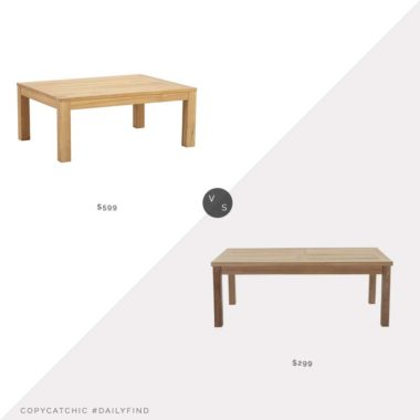 Daily Find: Ballard Designs Teak Coffee Table vs. Home Threads Marina Outdoor Patio Teak Coffee Table, teak coffee table look for less, copycatchic luxe living for less, budget home decor and design, daily finds, home trends, sales, budget travel and room redos