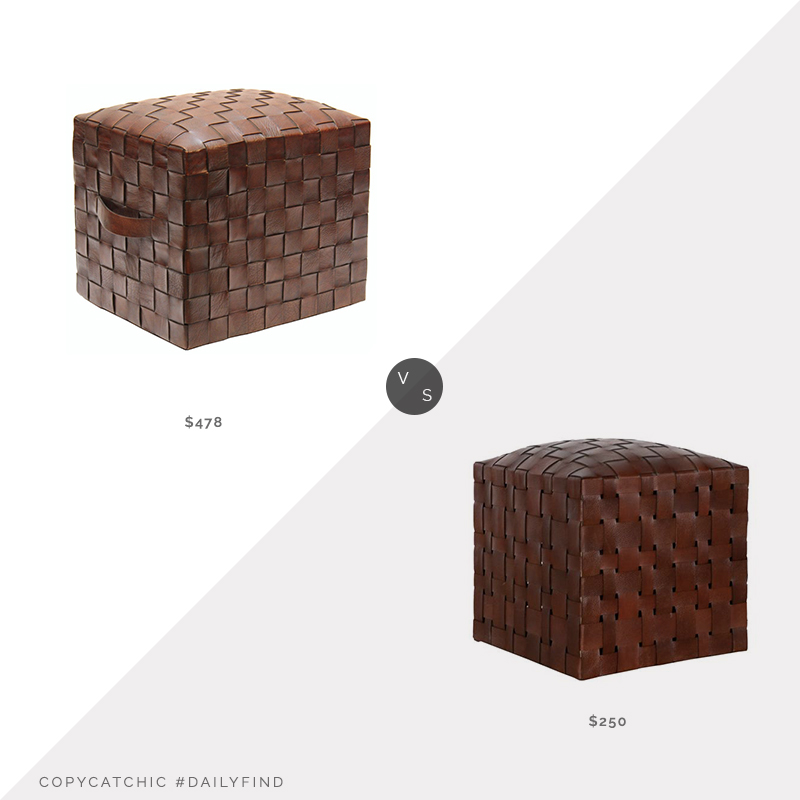 Daily Find: Nook & Cottage Peninsula Home Brooklin Woven Leather Pouf vs. McGee & Co Ackley Leather Ottoman, woven leather pouf look for less, copycatchic luxe living for less, budget home decor and design, daily finds, home trends, sales, budget travel and room redos