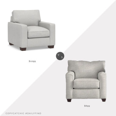 Daily Find: Pottery Barn Comfort Square Arm Upholstered Armchair vs. Wayfair Custom Upholstery Leslie Armchair, upholstered chair look for less, copycatchic luxe living for less, budget home decor and design, daily finds, home trends, sales, budget travel and room redos