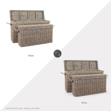 Daily Find: Pottery Barn Rattan Oversized Lidded Baskets, Set of 2 vs. Wayfair Sand & Stable Kent 2 Piece Wicker Trunk Set, basket trunk look for less, copycatchic luxe living for less, budget home decor and design, daily finds, home trends, sales, budget travel and room redos