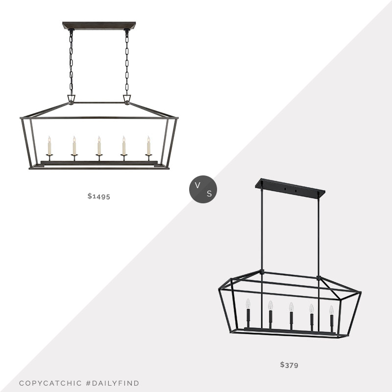 Daily Find: William Sonoma Darlana Linear Hanging Lantern vs. Wayfair Gracie Oaks Phebe 5-Light Linear Pendant, rectangular lantern chandelier look for less, copycatchic luxe living for less, budget home decor and design, daily finds, home trends, sales, budget travel and room redos